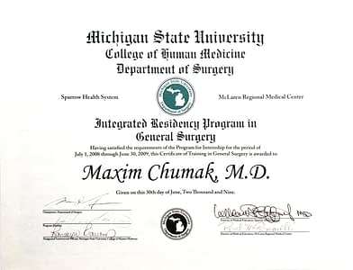 Maxim Chumak MD General Surgery Michigan State University