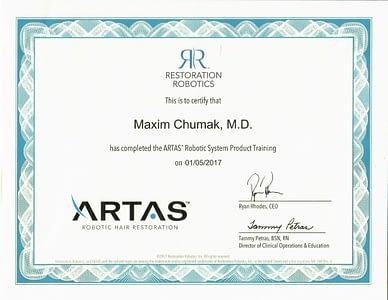 Maxim Cumak MD ARTAS Training Certificate