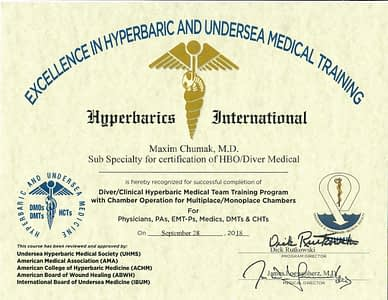 Maxim Cumak MD Certification of HBO-Diver Medical