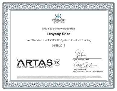 ARTAS iX Product Training Certificate
