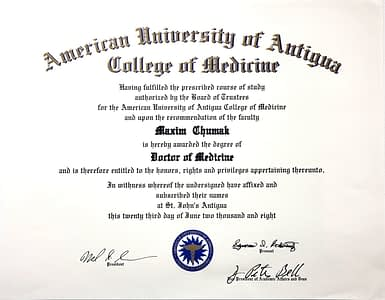 Medical Doctor Degree American University of Antigua