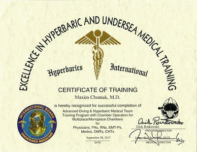 Maxim Cumak MD Certificate of Training of Advanced Diving _ Hyperbaric Medical Team for Physicians