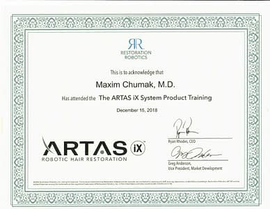 Maxim Cumak MD Artas iX Certification